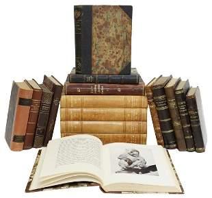 (17) SWEDISH LEATHER-BOUND LIBRARY SHELF BOOKS