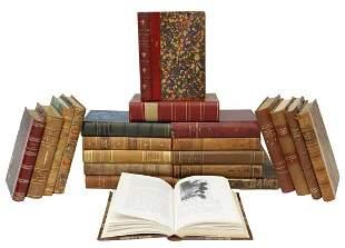 (21) SWEDISH LEATHER-BOUND LIBRARY SHELF BOOKS