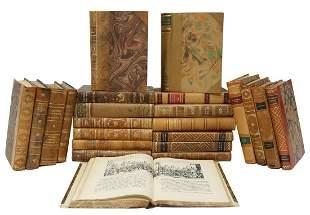 (23) SWEDISH LEATHER-BOUND LIBRARY SHELF BOOKS