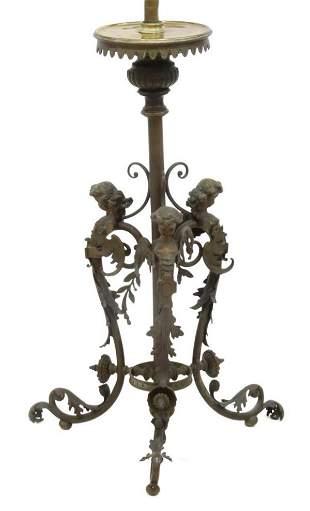 ITALIAN THREE-LIGHT FIGURAL BRONZE FLOOR LAMP