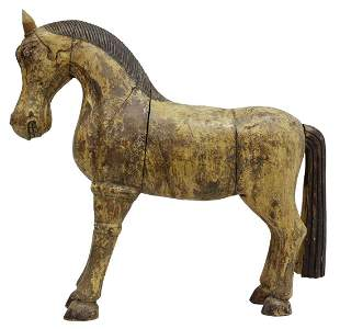 """CARVED & PAINTED WOOD STANDING HORSE, 22.5""""H"""