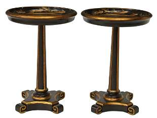 (2) CHINESE LACQUERED KOI FISH TABLES STANDS