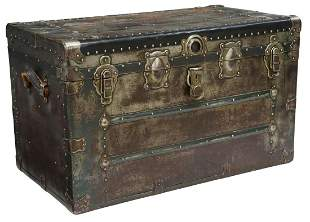 AMERICAN STEEL CLAD & LEATHER HANDLE TRAVEL TRUNK