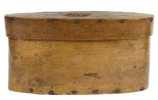 ENGLISH OVAL BENTWOOD BOX, ECCLESIASTICAL SEAL