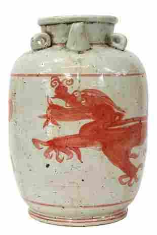 LARGE CHINESE RED DRAGON PORCELAIN OIL JAR