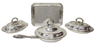 (4) ENGLISH & ITALIAN SILVERPLATE SERVING PIECES