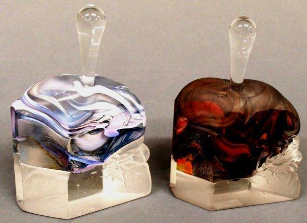 FINE STUDIO ART GLASS SCENT BOTTLES, SIGNED