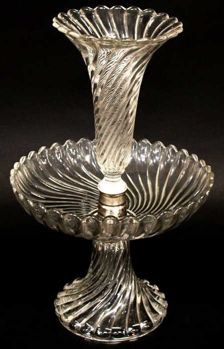 BACCARAT COLORLESS GLASS SWIRLED EPERGNE