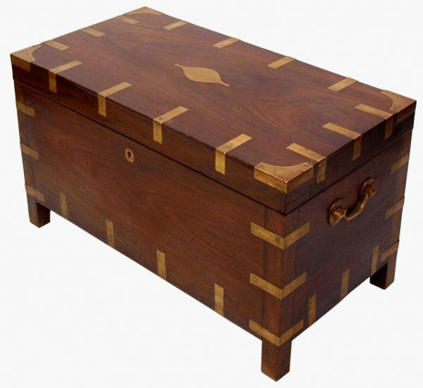 BRITISH COLONIAL ROSEWOOD BRASS BOUND TRUNK