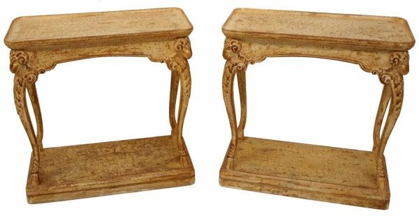 PAIR NEO-CLASSICAL STYLE RAMS HEAD CONSOLE TABLES