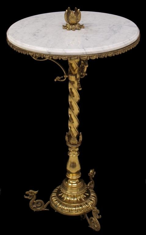 ORNATE FRENCH & GILT BRASS MARBLE TOP SIDE TABLE