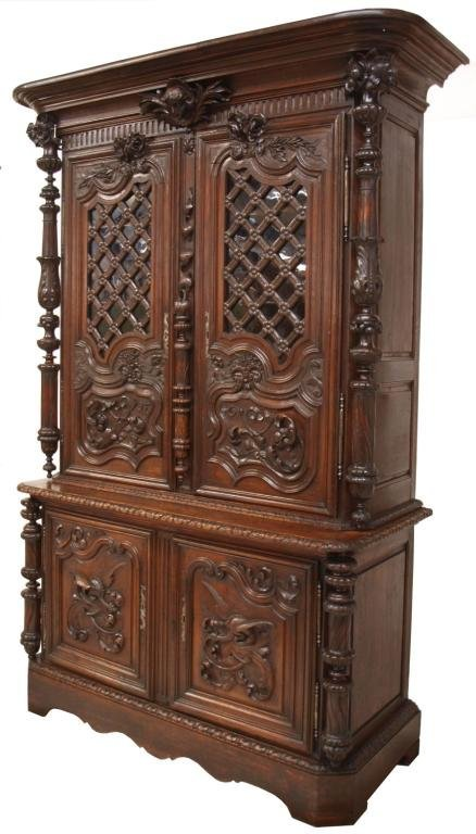 FINE MID 19TH C. FRENCH CARVED CHATEAU CABINET