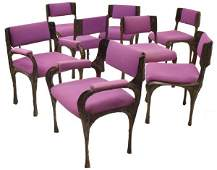 (8) PAUL EVANS SCULPTED BRONZE DINING CHAIRS
