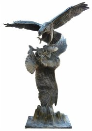 """LARGE BRONZE WILDLIFE SCULPTURE TWO EAGLES, 99""""H"""