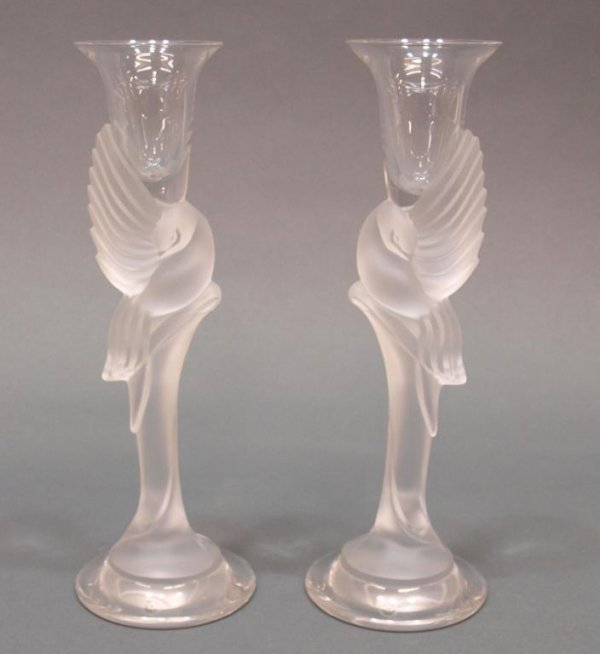 PAIR FABERGE FROSTED CRYSTAL DOVE CANDLESTICKS