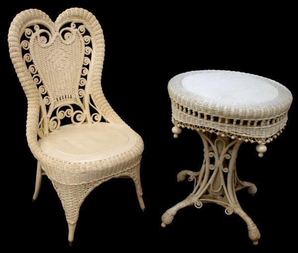 VICTORIAN WICKER STICK & BALL TABLE & SIDE CHAIR