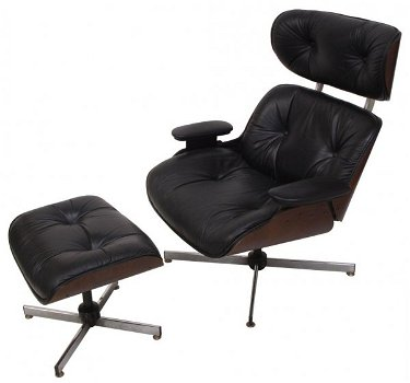 Amazing Plycraft Eames Style Lounge Chair Ottoman Black Beatyapartments Chair Design Images Beatyapartmentscom