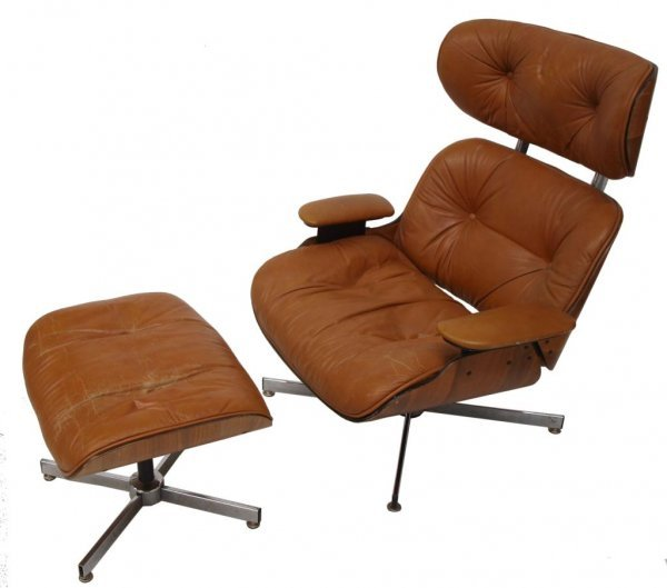 PLYCRAFT EAMES STYLE LOUNGE CHAIR & OTTOMAN, BROWN