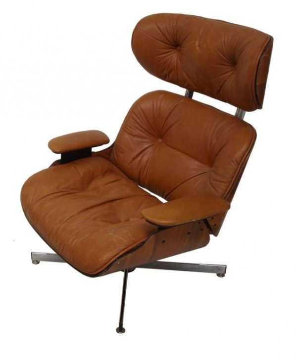PLYCRAFT EAMES STYLE LOUNGE CHAIR & OTTOMAN, BROWN - 2