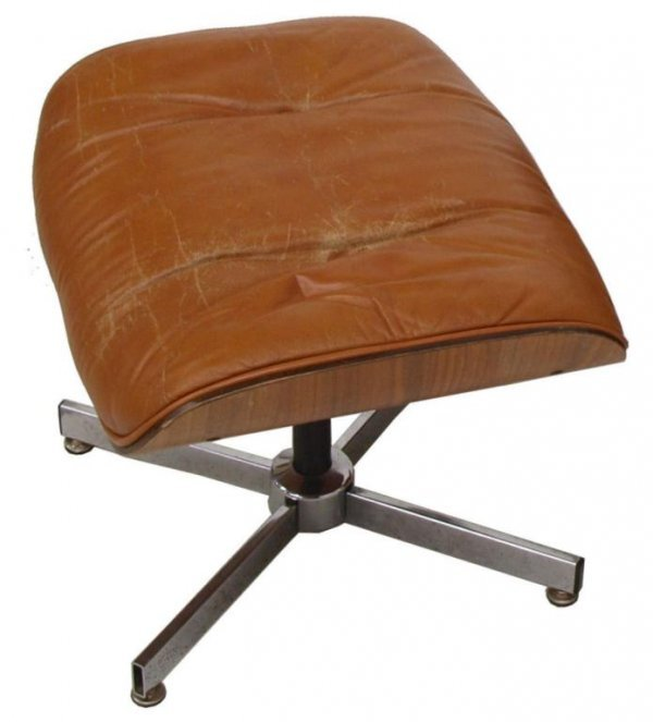 PLYCRAFT EAMES STYLE LOUNGE CHAIR & OTTOMAN, BROWN - 3