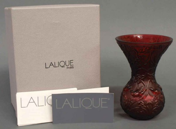 LALIQUE FRANCE RED CRYSTAL 'ARABESQUE' VASE IN BOX