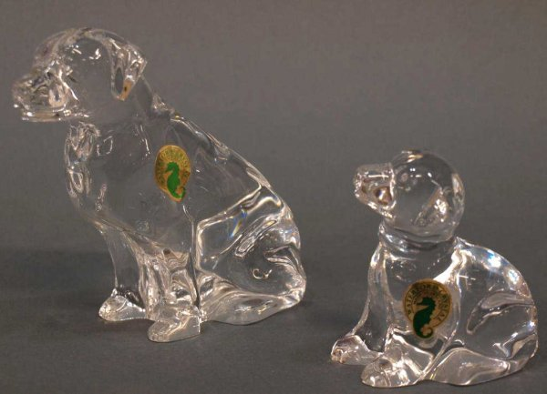 (2) WATERFORD CRYSTAL SEATED DOG FIGURES