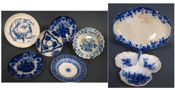 (8) ASSORTED 19TH C. FLOW BLUE & OTHER TABLEWARE