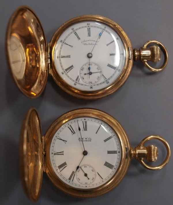(2) AMERICAN WALTHAM HUNTER CASED POCKET WATCHES
