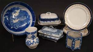 COLLECTION OF FLOW BLUE & BLUE & WHITE TABLEWARE