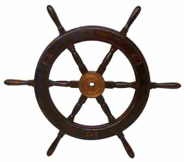 EARLY 20TH C. OAK SHIPS WHEEL WITH BRASS MOUNTINGS
