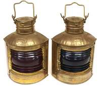 ANTIQUE BRASS PORT  STARBOARD SHIPS LANTERNS