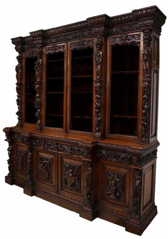 FINE FRENCH RENAISSANCE STYLE CARVED BOOKCASE