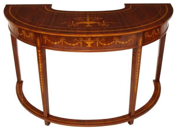 FRENCH STYLE FINELY INLAID DEMILUNE DESK & CHAIR - 3