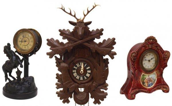 (3) CUCKOO CLOCK, AUSTRIAN PORCELAIN CLOCK, HORSE