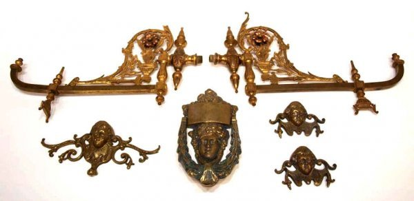614A: ANTIQUE GILT BRASS FIGURAL DOOR KNOCKERS & SCONCE