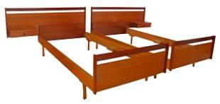 (2) ITALIAN MID-CENTURY MODERN TEAK BEDS