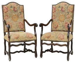 (2) FRENCH LOUIS XIV STYLE UPHOLSTERED FAUTEUILS