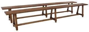 """(2) FRENCH PROVINCIAL FARMHOUSE BENCHES, 112""""L"""