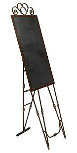 """FRENCH WROUGHT IRON STANDING MENU BOARD, 80""""H"""