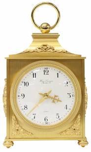 FRENCH HOUR LAVIGNE GILT METAL TABLE DESK CLOCK