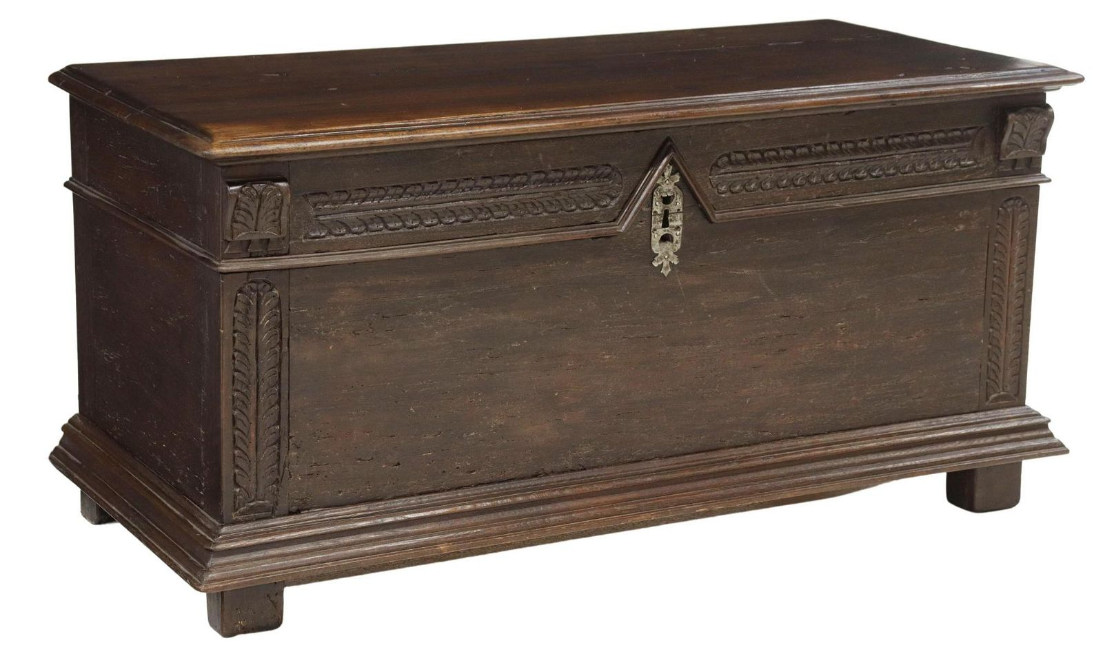 ANTIQUE FRENCH MIXED WOOD COFFER TRUNK