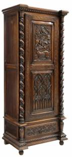 FRENCH GOTHIC REVIVAL CARVED OAK BONNETIERE