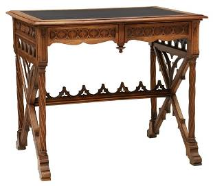 FRENCH GOTHIC REVIVAL WALNUT WRITING TABLE
