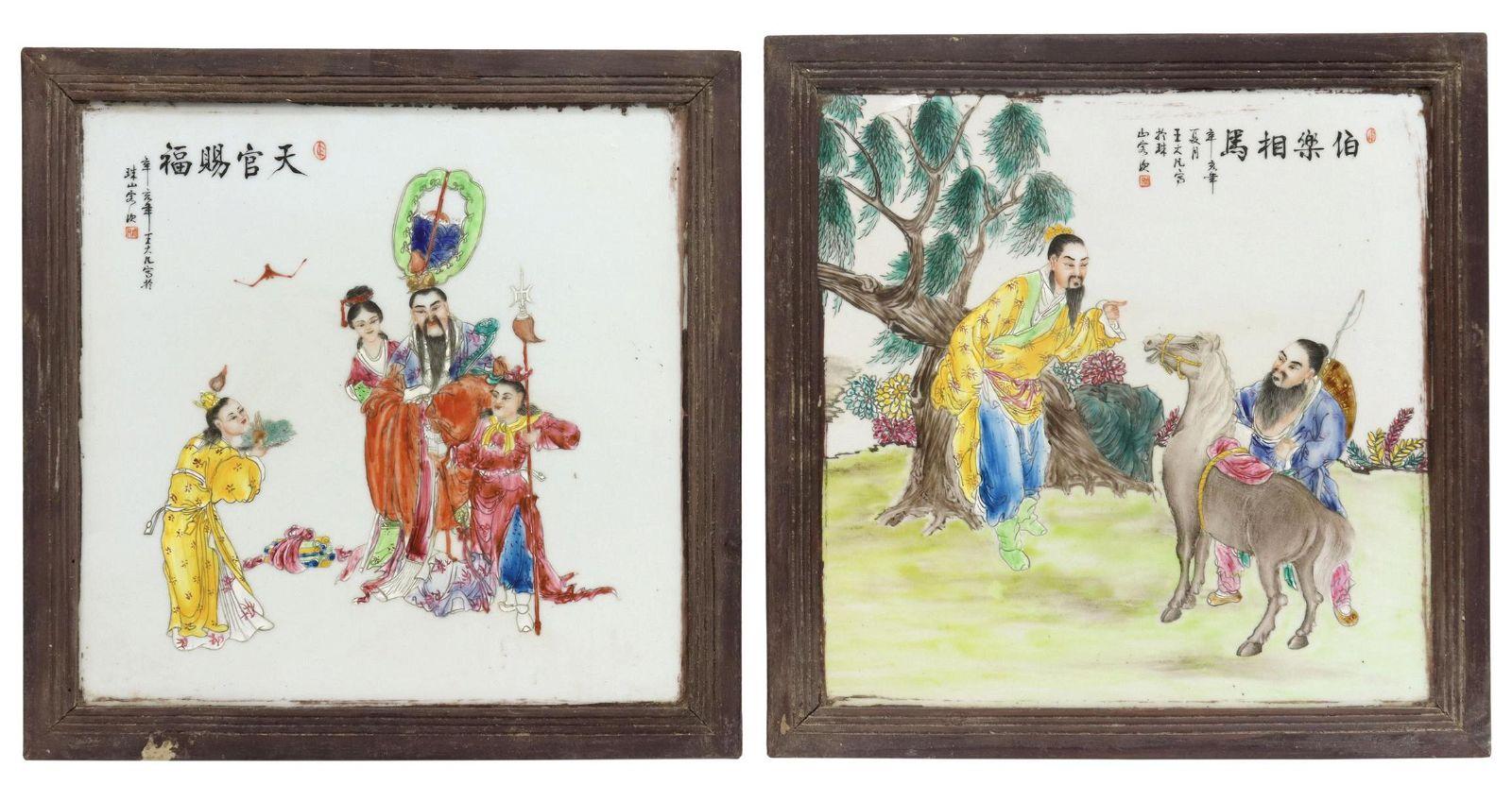 (2) FRAMED CHINESE PORCELAIN FIGURAL PLAQUES
