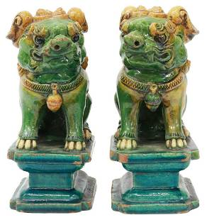 (2) CHINESE SANCAI CERAMIC FOO LION CENSERS