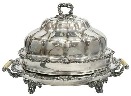 ENGLISH SILVERPLATE VENISON DISH WITH COVERED DOME