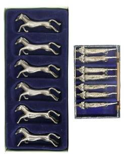 (13) FRENCH SILVERPLATE DOG & HORSE KNIFE RESTS