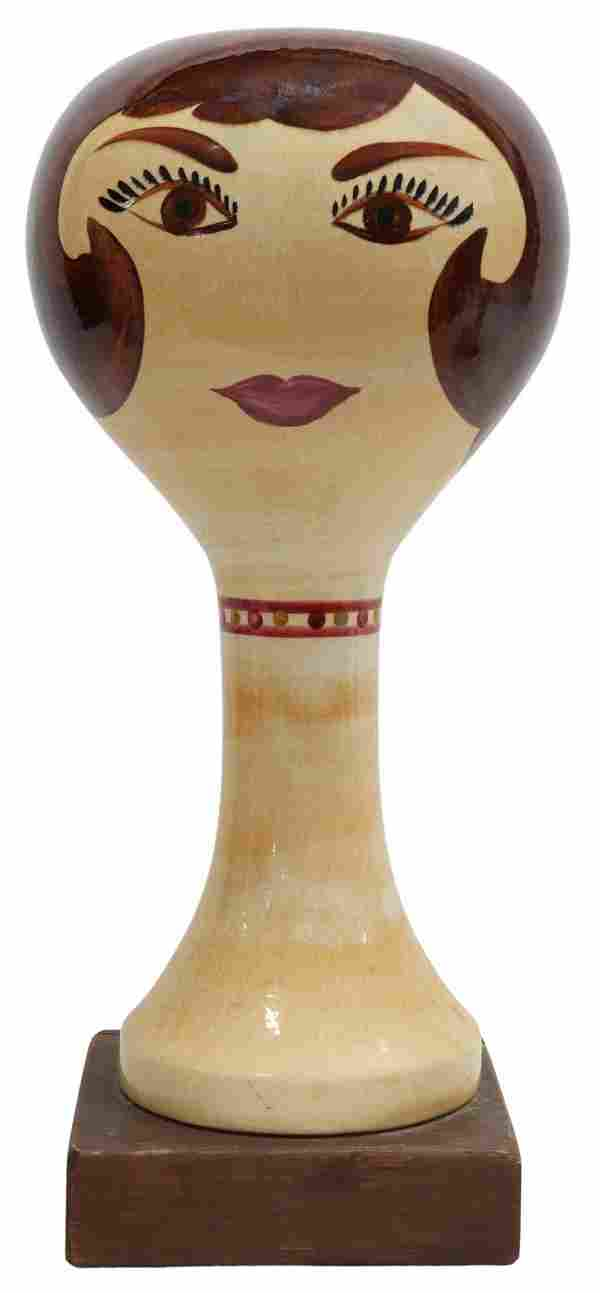 STANGL HAND-PAINTED POTTERY FIGURAL WIG STAND