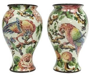(2) ITALIAN MAJOLICA PARROT EXOTIC BIRD VASES
