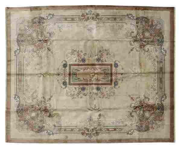 """HAND-TIED CHINESE MEDALLION RUG, 10' X 7'11.5"""""""